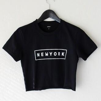 t-shirt nyct clothing new york city graphic tee graphic crop tops crop tops new york shirt black black t-shirt