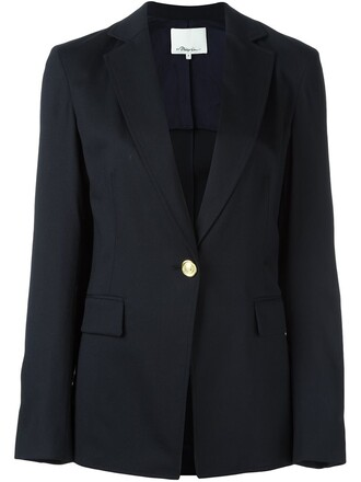 blazer women spandex blue wool jacket
