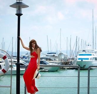 dress poopraya fashion red dress long dress long sleeves style long sleeve dress sleeveless dress red prom dress long red dress thai dara trendy 2015 trends summer dress