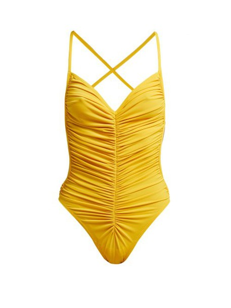 Norma Kamali - Butterfly Mio Ruched Swimsuit - Womens - Yellow