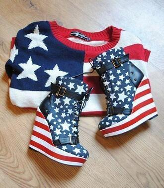 sweater red blue white american flag oversized sweater shoes heels high heels