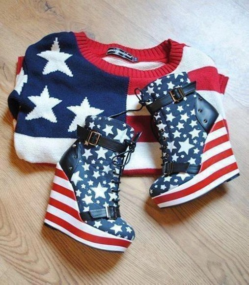 sweater red white blue usa flag shoes oversized sweater Heels high heels