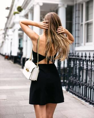 dress tumblr open back mini dress black dress bag white bag open back dresses backless backless dress