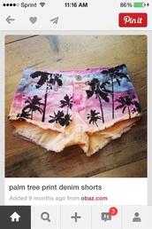 shorts,rainbow,palm tree print,beach,cut off shorts,high waisted denim shorts,pink,high waisted blue shorts,demim