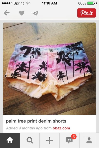 shorts rainbow palm tree print beach cut off shorts high waisted denim shorts pink high waisted blue shorts demim
