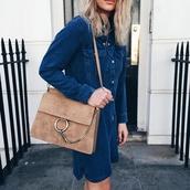 bag,chloe faye bag,chloe bag,chloe,nude bag,denim dress,blue dress,shirt dress,long sleeve dress,streetstyle