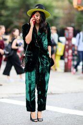 pants,cropped velvet pants,tumblr,green,velvet,velvet pants,hat,streetstyle,blazer,velvet blazer,green pants,sandals,sandal heels,high heel sandals,power suit,matching set,two piece pantsuits,wide-leg velvet pants,cropped wide-leg velvet pants