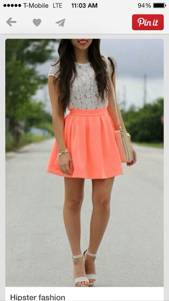 skirt neon orange high waisted