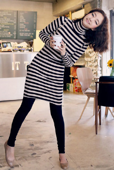 Turtleneck Striped Knit Dress