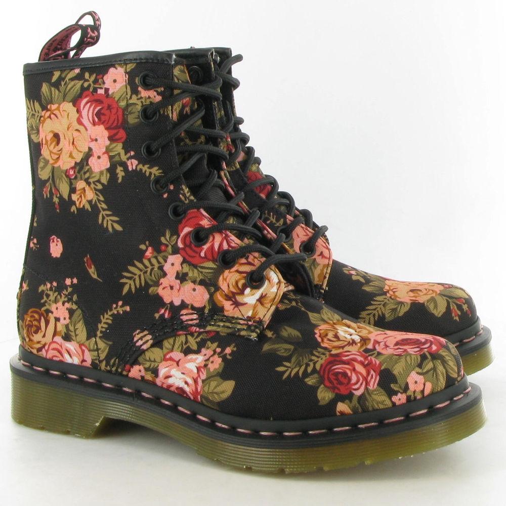 Doc Martens Floral Black Pink Canvas Combat Boots Size 8US Women | eBay
