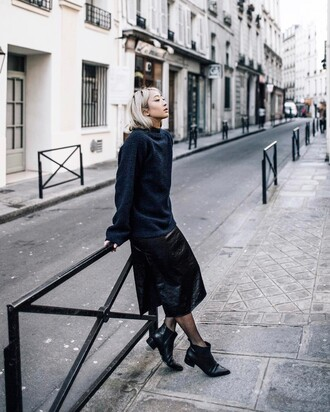 sweater tumblr blue sweater dress slip dress midi dress black midi dress tights boots black boots ankle boots flat boots fall outfits satin dress satin