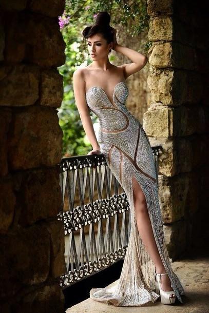 dress, diamonds, gown, wedding, ivory, designer, ball gown dress ...