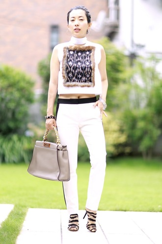 fetish tokyo blogger jewels bag shoes white top turtleneck embroidered white pants nude bag black sandals sandals