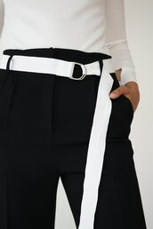 pants,karine lecchi,black pants,slacks,high waisted pants,tuxedo style,holiday gift,giveaways,12 day giveaway,black and white