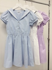 dress,clothes,cute,cute dress,sailor,lolita,harajuku,summer,summer dress,baby blue,pastel blue,white dress,white,pastel purple,babydoll dress,button up,pearl,girly,japanese fashion,japan,fashion,high waisted skirt,pastel,buttons,collared dress,collar,school uniform,cotton