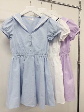 dress clothes cute cute dress sailor lolita harajuku summer summer dress baby blue pastel blue white dress white pastel purple babydoll dress button up pearl girly japanese fashion japan fashion high waisted skirt pastel buttons collared dress collar school uniform cotton