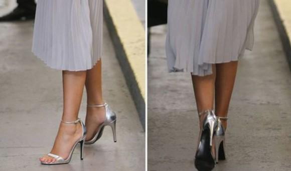 shoes shiny silver high heels metalic kittenheels ladies