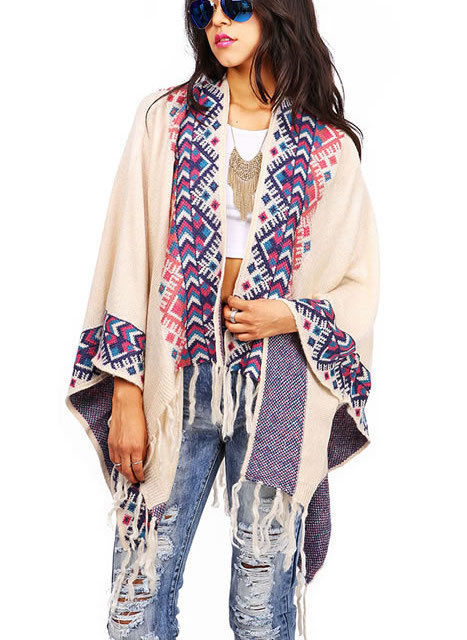 BOHO VINTAGE HIPPIE GIRL MULTICOLOR TRIBAL CASUAL LOOSE FIT PONCHO WITH FRINGE
