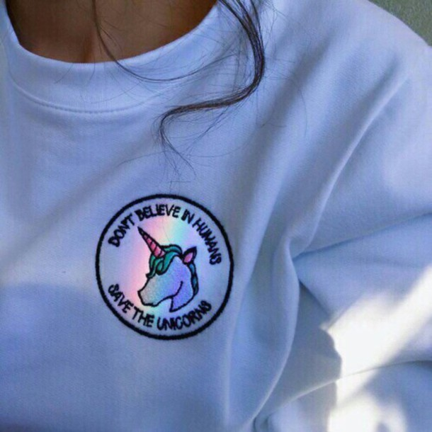 Shirt Blue Tumblr Unicorn Cool Grunge T Shirt Grunge