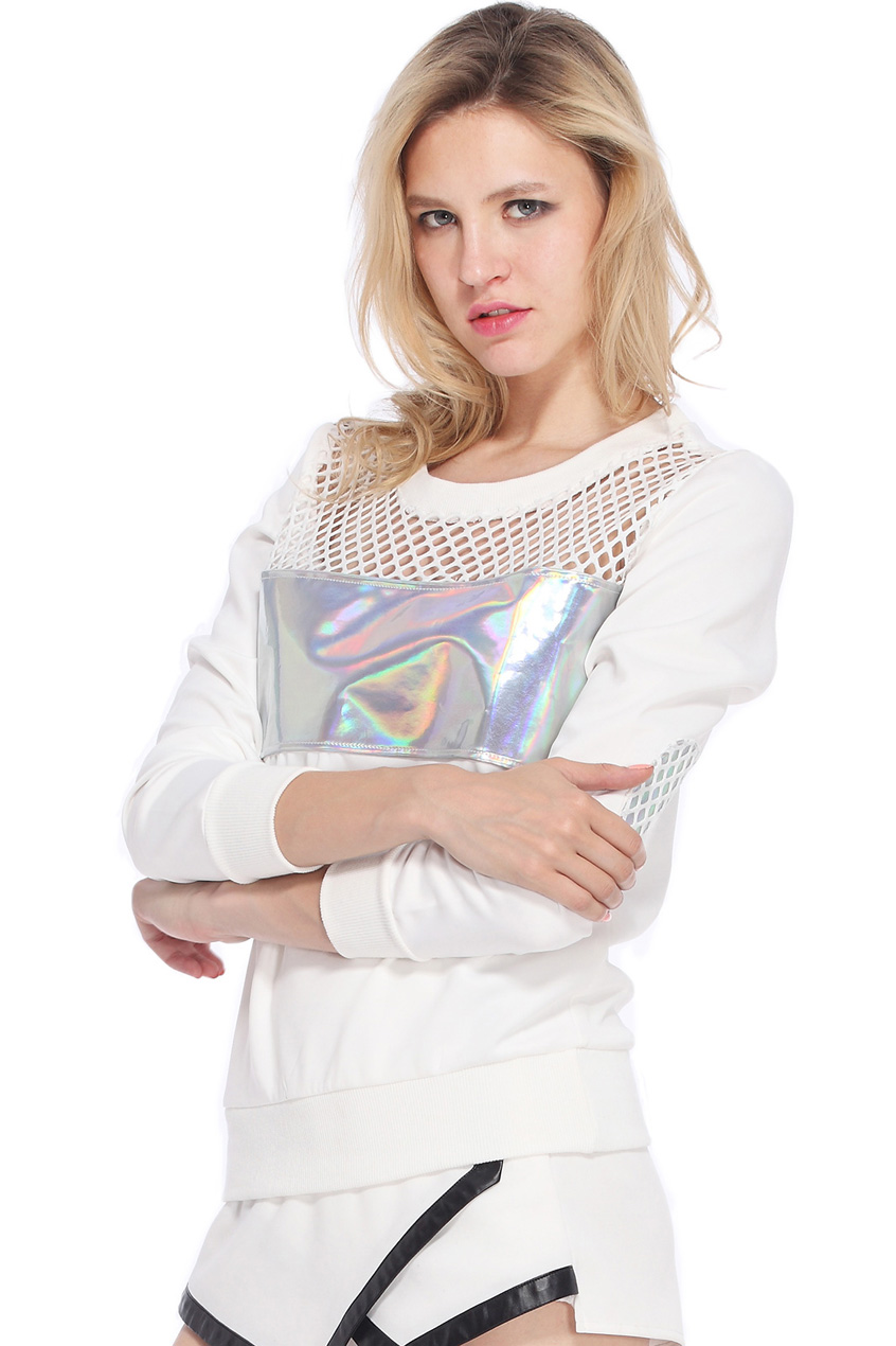 ROMWE | Holographic Print Hollow Sweatshirt, The Latest Street Fashion