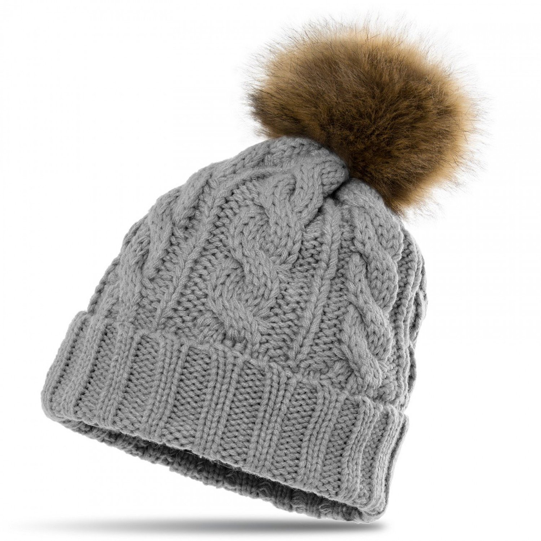 6b6823c91dd CASPAR Womens Winter Knitted Beanie Fleece Inner Lining Large Fur Bobble -  MU104