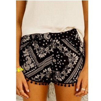 shorts black shorts bandana shorts