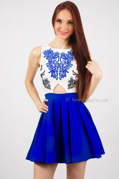China Blue A-Line Dress | Honey Peaches
