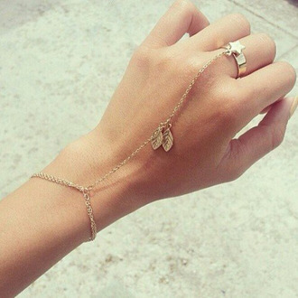 jewels leaves gold chain stars bracelets bagues girly vintage cute hippie hipster festival original