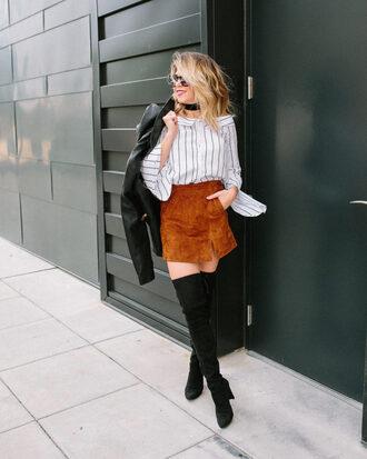 lifelutzurious blogger skirt top shoes jacket t-shirt shirt sunglasses suede skirt over the knee boots striped top