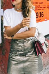 skirt,tumblr,metallic,silver skirt,metallic skirt,t-shirt,white t-shirt,bag,gucci,gucci bag,choker necklace,button up skirt,silver choker,buttoned skirt