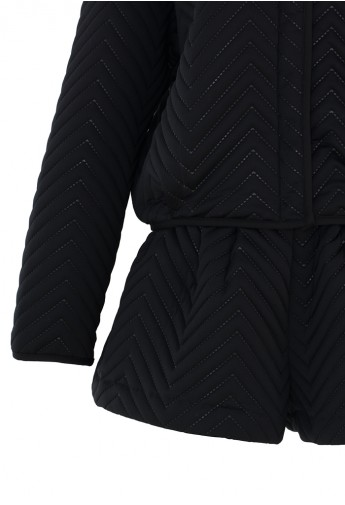 Zig Zag Quilted Black Jacket and Short Set  - Retro, Indie and Unique Fashion