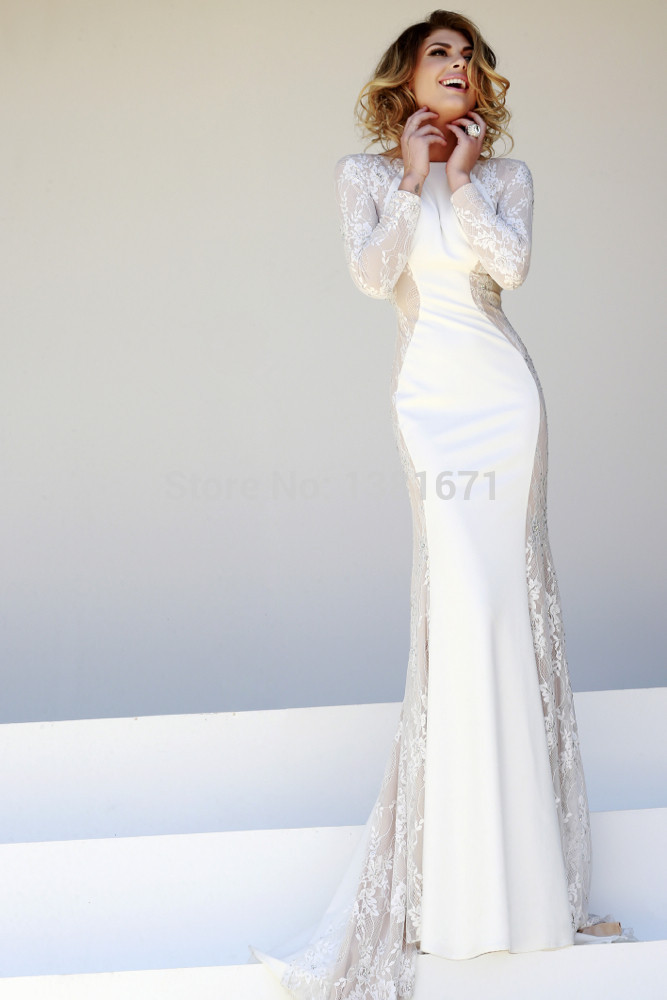 Aliexpress.com : Buy Free Shipping Chic White Lace Design Hot Embroidery Sexy Back V neck Long Celebrity Evening Dress from Reliable embroidery wedding dresses suppliers on Aojia Top Evening Dress
