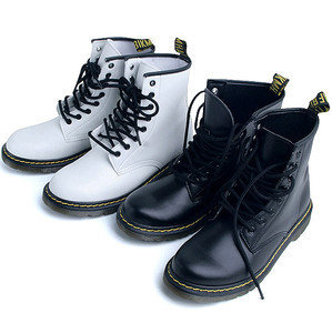 Black White Solid Military Combat Boots Shoes US 6~9 / Ladies ...