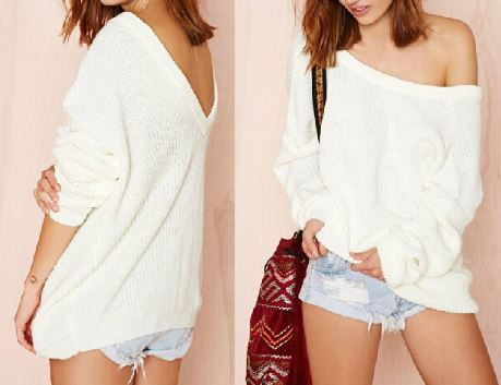 White V-Back Sweater