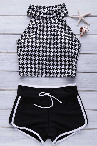 swimwear fashion shorts sporty black white houndstooth halter top black and white gamiss