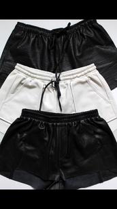 black,leather,leather shorts,edgy