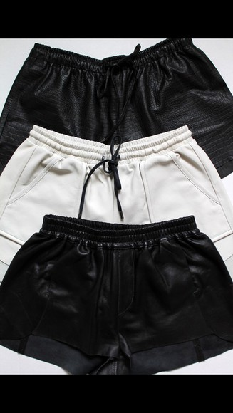 black edgy leather leather shorts