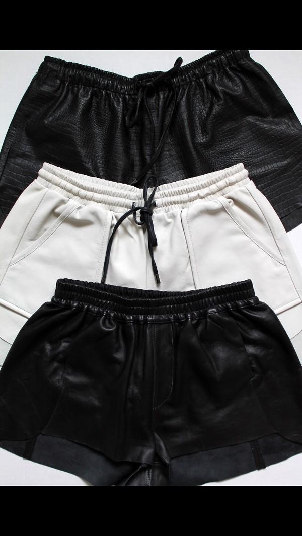 black leather leather shorts edgy