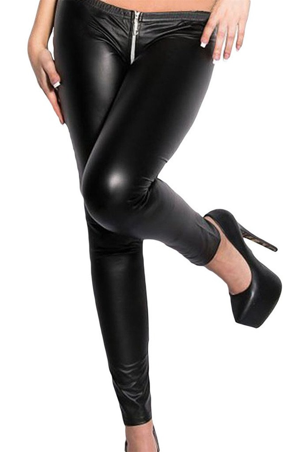 com: Happy Sailed Women's Wet Look Zippered Tight Leather Leggings ...