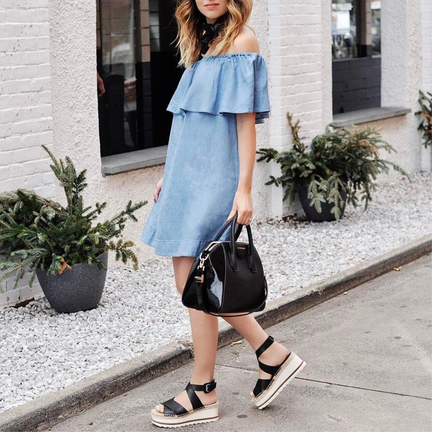 81ae5bb29ea dress tumblr mini dress off the shoulder off the shoulder dress denim denim  dress sandals black