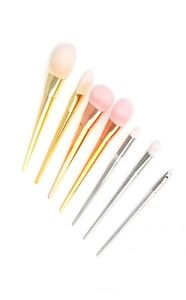 7 Piece Metallic Makeup Brush set 7 gift set Rose gold pink Silver