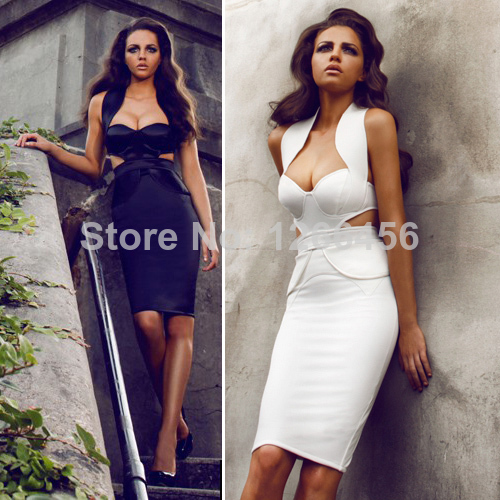 Aliexpress.com : Buy 2014 Europe Rayon Sweartheart Neckline Halter Cutout Cap Sleeve Sheath Ruffle Backless Celebrity White Evening Bandage Dress from Reliable bandage party dress suppliers on Lady Go Fashion Shop