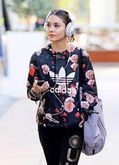 jacket,sweater,flower adidas,adidas sweater,floral shirt,flowered shorts,floral hoodie,floral jacket,high school,musical,venessa hudgens,adidas,adidas originals,floral sweatshirt,hoodie,floral,vanessa hudgens,black,cute,girly,adidas classics,adidas floral,blouse