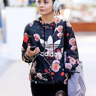 adidas originals black hoodie cute girly floral vanessa hudgens blouse