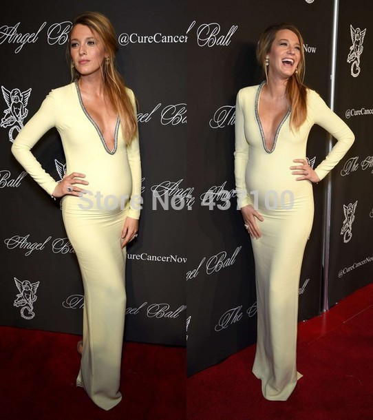 Aliexpress.com : buy 2014 sexy deep v neck long sleeve mermaid maternity long evening dresses for pregnant women blake lively celebrity prom dress from reliable evening dresses suppliers on suzhou lovestorydress co. , ltd