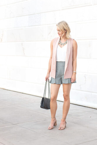 shorts tumblr gingham top camisole vest sandals mid heel sandals bag necklace shoes white top