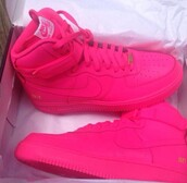 shoes,nike air force mid 1 pink,all hot pink nike,größe  38,nike air force 1,nike,hot-pink,shoes sneakers,love,pink,nike hightops,neon pink,high top sneakers,nike sneakers,pink sneakers