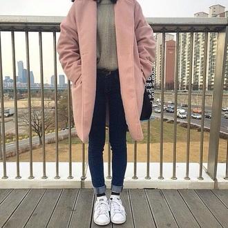coat pink korean fashion pastel pink pink coat