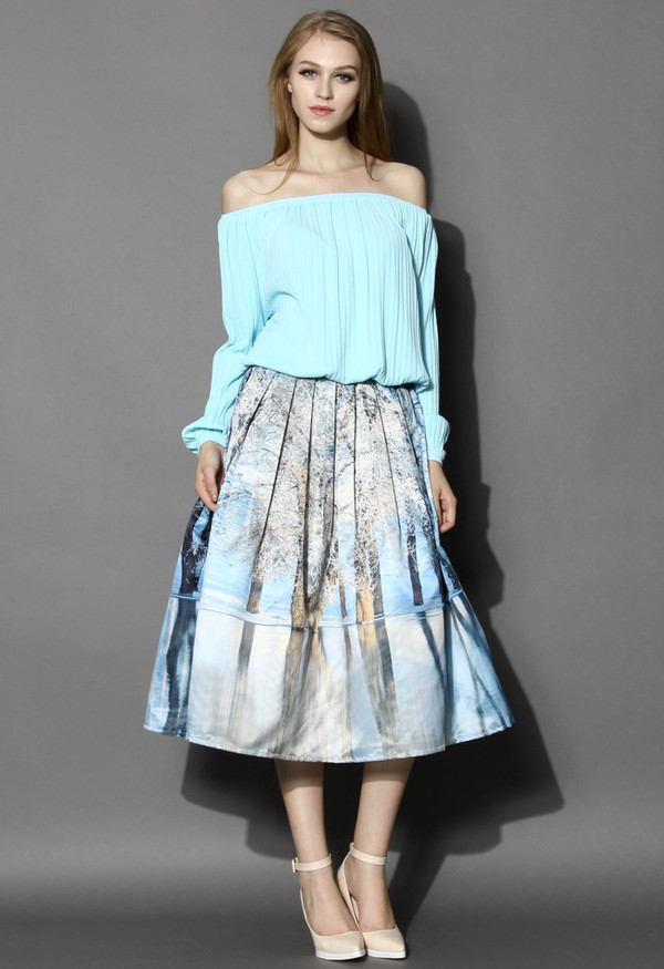 chicwish printed skirt pleated midi skirt