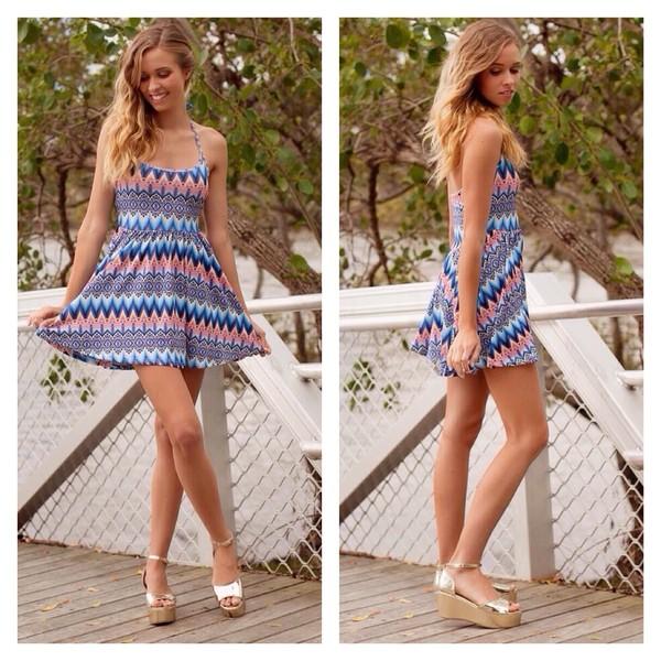 dress blue halter dress halter neck summer dress paper heart